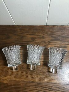 (3) Vintage Clear Glass Diamond Point Peg Sconce Candle/Tea Lite Candle Holders
