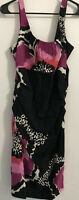#30 Suzi Chin Maggi Boutique 14 MIDI Dress Floral Black White Pink Sleeveless