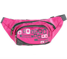 Pink Bum Bags, 3 Zip Compartments with Adjustable Strap.