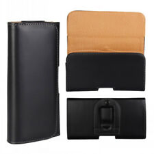 For HTC One X9 X10 Black Leather Belt Clip Case Cover Pouch Great for Tradesman