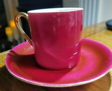 VICTORIA CZECHOSLOVAKIA SMALL DEMITASSE CUP & SAUCER BURGUNDY COLOR