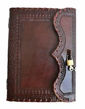 "10"" large Genuine Leather Journal Vintage Antique Style Organizer Blank Notebook"