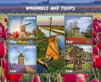 Liberia Windmills & Tulips Stamps 2020 MNH Zaanse Schans Flowers Tourism 4v M/S