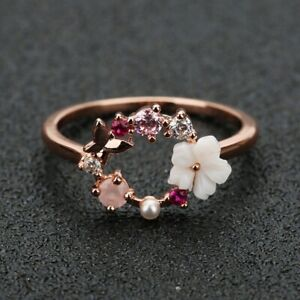 Fashion Creative Butterfly Flowers Rose Gold Zircon Finger Christmas Ring Size10