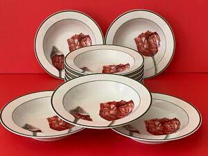 Villeroy & Boch Flora Poppies Rimmed Soup Bowl Plate Set of 11