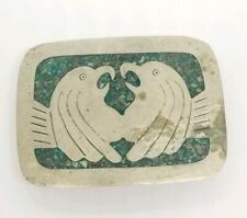 Vintage Mexican Green Stone Inlay Belt Buckle