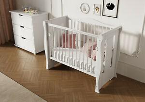 White Tia Cot Baby Mini Cot Space Saver Cot Compact Cot + Mattress 100 x 50 x 10