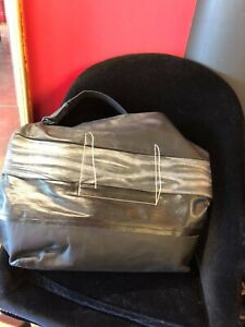 Rick Owens black leather and canvas duffle travel bag unisex
