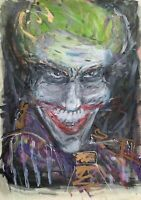 "24""  Large Expressionist Smiling Joker Batman Wall Art Painting Comic Original"