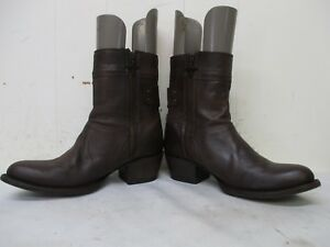 Lane Brown Leather Zip Ankle Cowboy Boots Womens Size 6.5 B Style 0222A