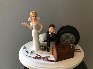 Cake Topper Wedding Day Bride Groom Funny Auto Mechanic Grease Monkey Themed