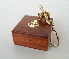 Nautical Brass Designer Canon Key Chain Antique With Wooden Box Best Gift
