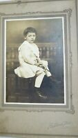 Vtg Antique Cabinet Photo Real Photograph Young Boy Sad Eyes Reading PA