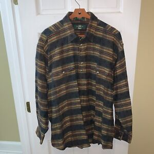 Orvis Men XL Shirt Jacket Shacket Aztec Southwestern Long Sleeve 1/4 Button LS