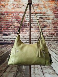 Fossil Olive Green Leather Hobo Shoulder Bag Medium Handbag