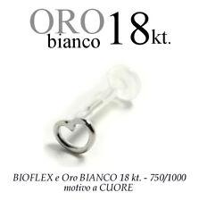 Piercing BIOFLEX LABRET TRAGO ORECCHIO CUORE oro BIANCO 18kt. white GOLD