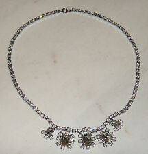VINTAGE WHITE DIAMANTE CRYSTAL RHINESTONE ROUND DROP DROPLET NECKLACE