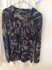 GORDON SMITH Black Grey White Sheer Jacket Top Blouse 14 PC Stretch Long Sleeve