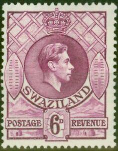 Swaziland 1938 6d Dp Magenta SG34 P.13.5 x 13 Fine Very Lightly Mtd Mint