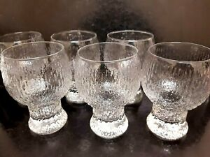 VINTAGE RETRO SET 6 FROSTED  CROWN CORNING  WINE  GLASSES
