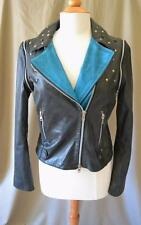 Le Sentier Black Leather Jacket with Star Studs Size 44 Small