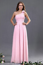 Chiffon One Shoulder Sleeveless Formal Party Prom Gown Bridesmaid Dress 6-18