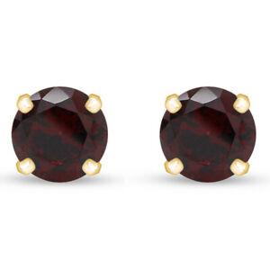 2.00 Ct Round Red Garnet Stud Earrings 14K Yellow Gold Over Sterling 6mm
