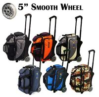 KAZE SPORTS Deluxe 2 Ball Roller Bowling Tote Bag with 5 inch Smooth PU Wheels