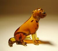 "Blown Glass ""Murano"" Art Figurine Dog Brown LAB Labrador Sitting"