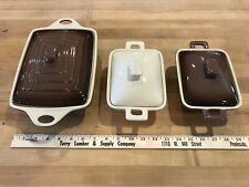 SUSAN WINGET 6 PIECE BROWN AND CREAM CASSEROLE BAKING DISHES ESTATE FIND CLEAN!!