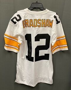 "Terry Bradshaw "" HOF 1989 "" Signed Steelers Mitchell & Ness Jersey XL BAS COA"