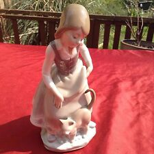 "EXQUISITE LLADRO FIGURINE""  GIRL WITH CAT ""  1187, LOVELY COND"