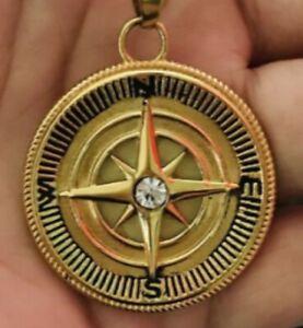 Compass Back Sun OM symbol gold plating Pendent & Necklace