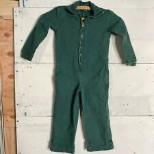 Vintage Kids Mechanic Coveralls Canvas Cotton Jumpsuit Size 4 Green