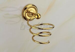 Gold Color Brass Wall Mounted Bathroom Accessories Hair Dryer Holder sba608