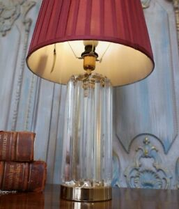 Modern CUT Glass Clear Crystal Prism Gold Ornate Round Column Table Lamp
