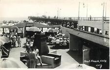 RPPC  SEAL BEACH, California  CA   Crowd at PIER  Orange County  c1940s Postcard
