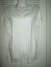 TALBOTS Semi Sheer Boyfriend Fit Cleavage Shirt Blouse Ivory M NWT