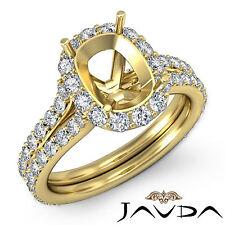 Diamond Engagement Cushion Semi Mount Split Shank Ring 18k Yellow Gold 1.32Ct