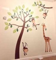 Kids Wall Stickers Children Nursery Decals Monkey Tree Giraffe Jungle Forest