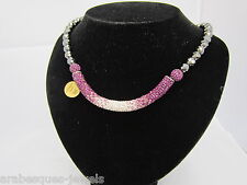 BEST QUALITY SHAMBALLA TUBE NECKLACE STERLING SILVER/GENUINE AMETHYST CRYSTAL