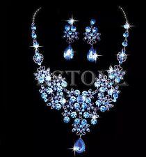 Blue Wedding Jewellery Bridal Necklace Earring Rhinestone set