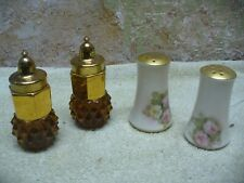 "Amber Glass Diamond Point Salt and Pepper Shakers Vintage 4"" tall + Austrian set"