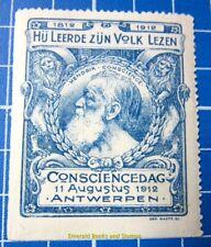 Cinderella/Poster Stamp - 1912 Belgium Hendrik Conscience Dag Antwerpen 858