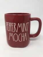Rae Dunn By Magenta Christmas PEPPERMINT MOCHA Red Mug  LL In White Holiday