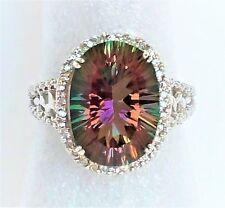 Clyde Duneier Womens 10k Solid Gold Ring 15ct Mystic Topaz 24 Diamond 9 1/4