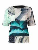 Womens Alfani Mixed Print Dolman Scuba Short Sleeve Knit Top XL Nature Collage