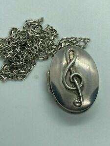 SUPER STERLING SILVER TRBLE CLEF DEEP LOCKET / STASH BOX NECKLACE VSCA220A