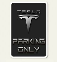 Tesla Parking Only w/ Border Abstract Art 8 X 12 Novelty Aluminum Sign - New