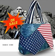 USA Flag Starts Stripes School Shoulder Bag Tote Shopping Bag Denim Messenger